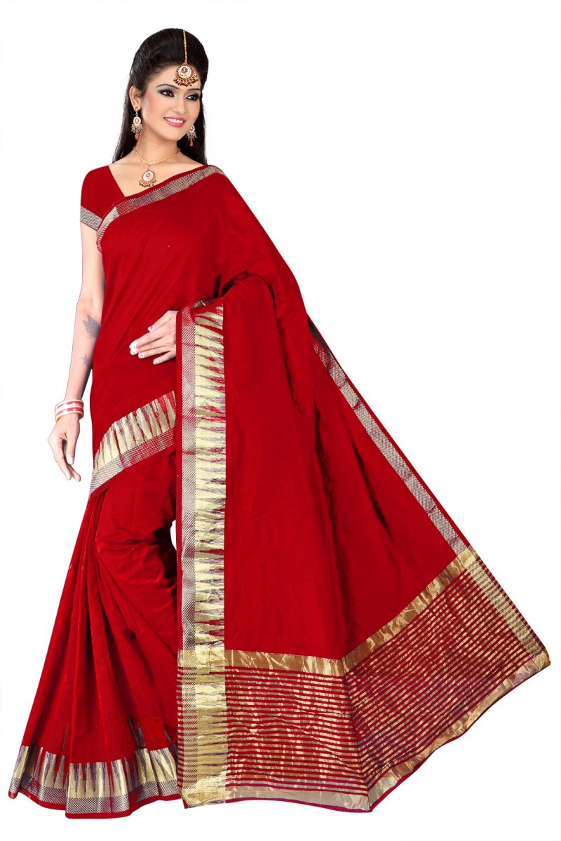 831cd656968564 Buy Mahadev Enterprises Red Saree With Blouse Online