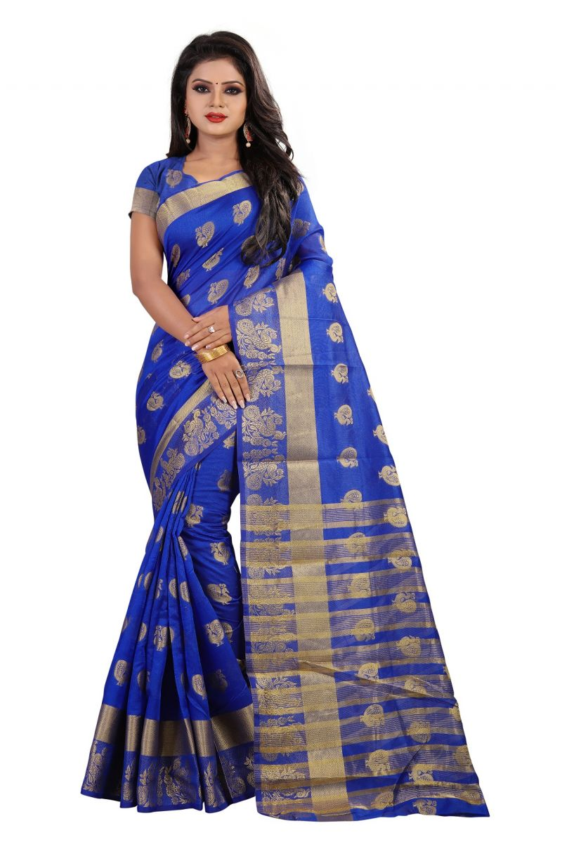 Buy Mahadev Enterpries Blue Cotton Silk Saree With Running Blouse ( Code- Bbc91 ) online