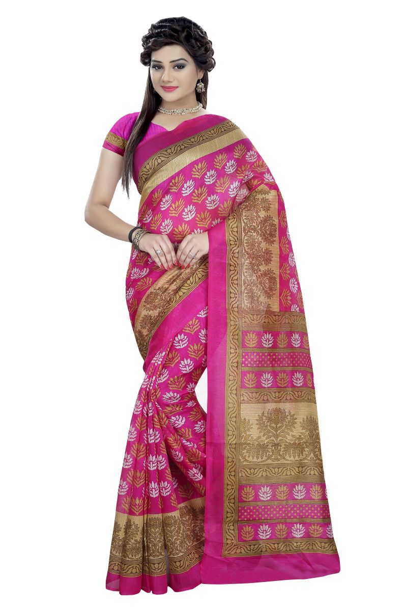 Buy Mahadev Enterprises Pink Color Bhagalpuri Cotton Silk Saree With Unstitched Blouse Pics Mmb119 online