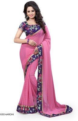 Buy Mahadev Enterprises Pink Color Georgatte Saree With Unstitched Blouse Pics Bvm05 online