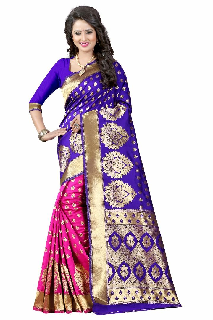 Buy Mahadev Enterprises Blue & Pink Cotton Saree With Blouse Pics Bvm07 online