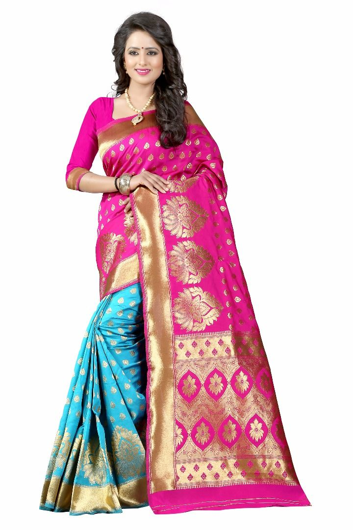 Buy Mahadev Enterprises Pink & Firozi Cotton Saree With Blouse Pics Bvm10 online