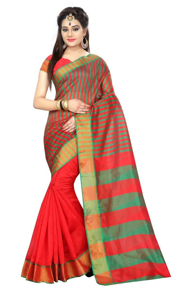 Buy Mahadev Enterprises Red Color Art Cotton Silk Saree With Unstitched Blouse Pics 2aaraa_c online