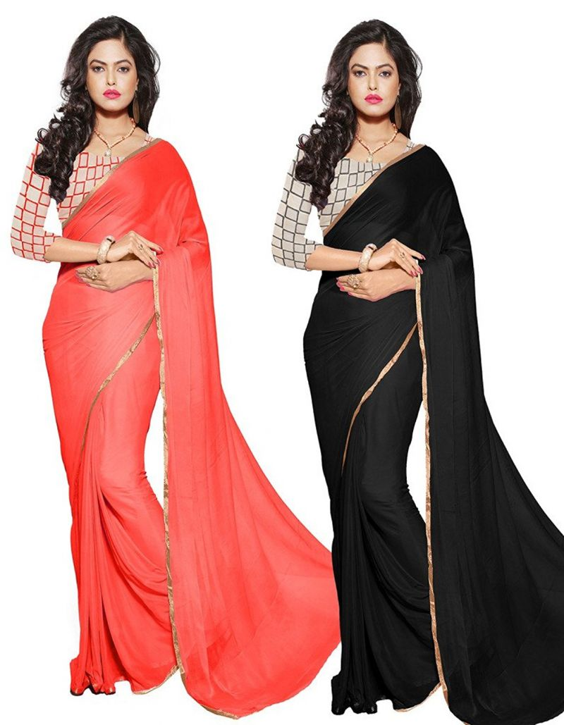 Buy Mahadev Enterprises Black & Orange Colour Nazmin Plain Saree ( Combo Offer ) With Unstitched Blouse Pics Mgm16 online