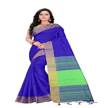 Buy Mahadev Enterprises Purple Cotton Saree With Unstitched Blouse Pics online
