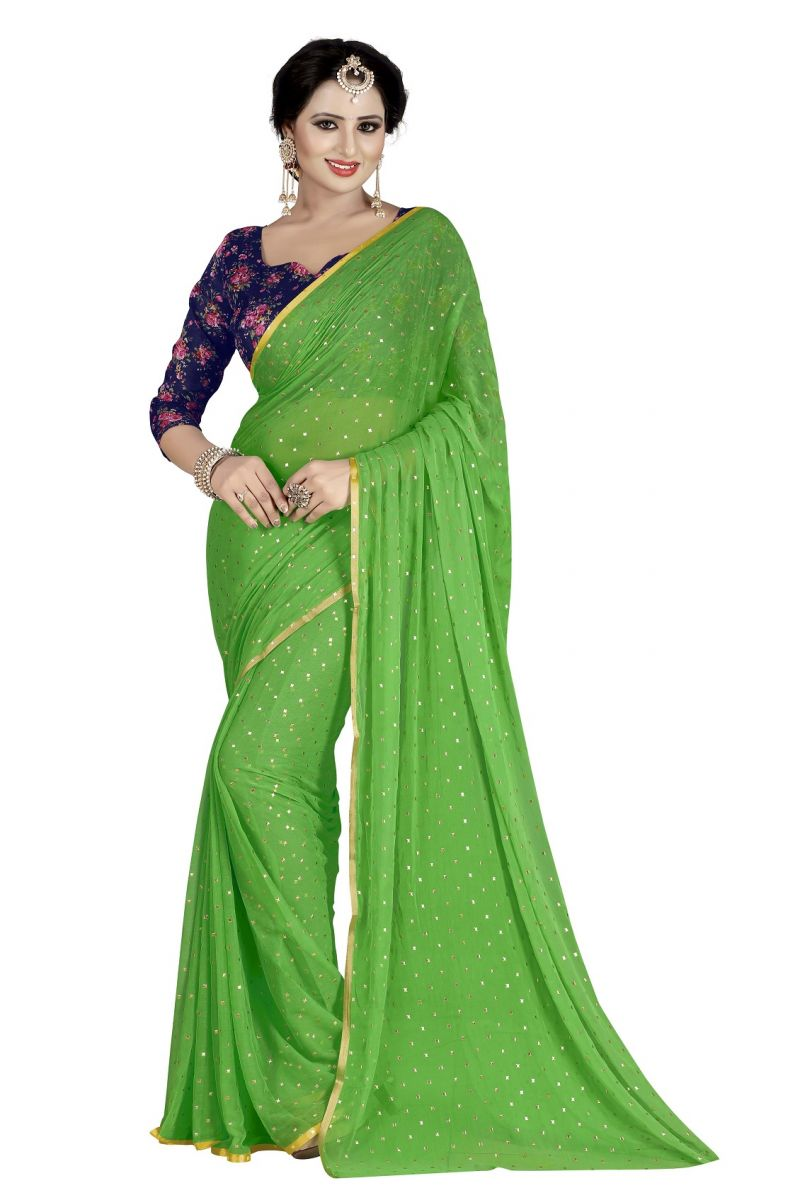 Buy Mahadev Enterprises Green Fancy Nazneen Weaving Saree With Unstitched Blouse Pics online