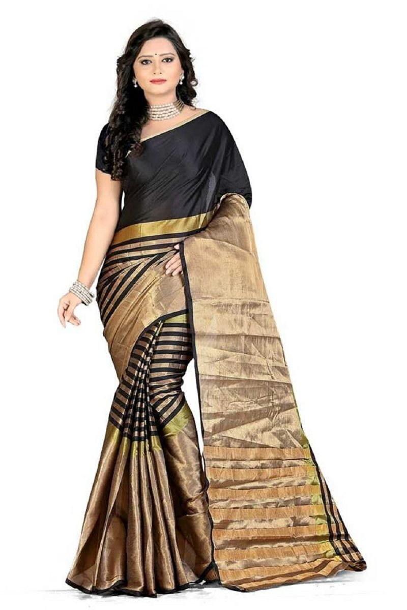 Buy Mahadev Enterprises Black Colour Art Silk Saree With Blouse Mbwa1502a online