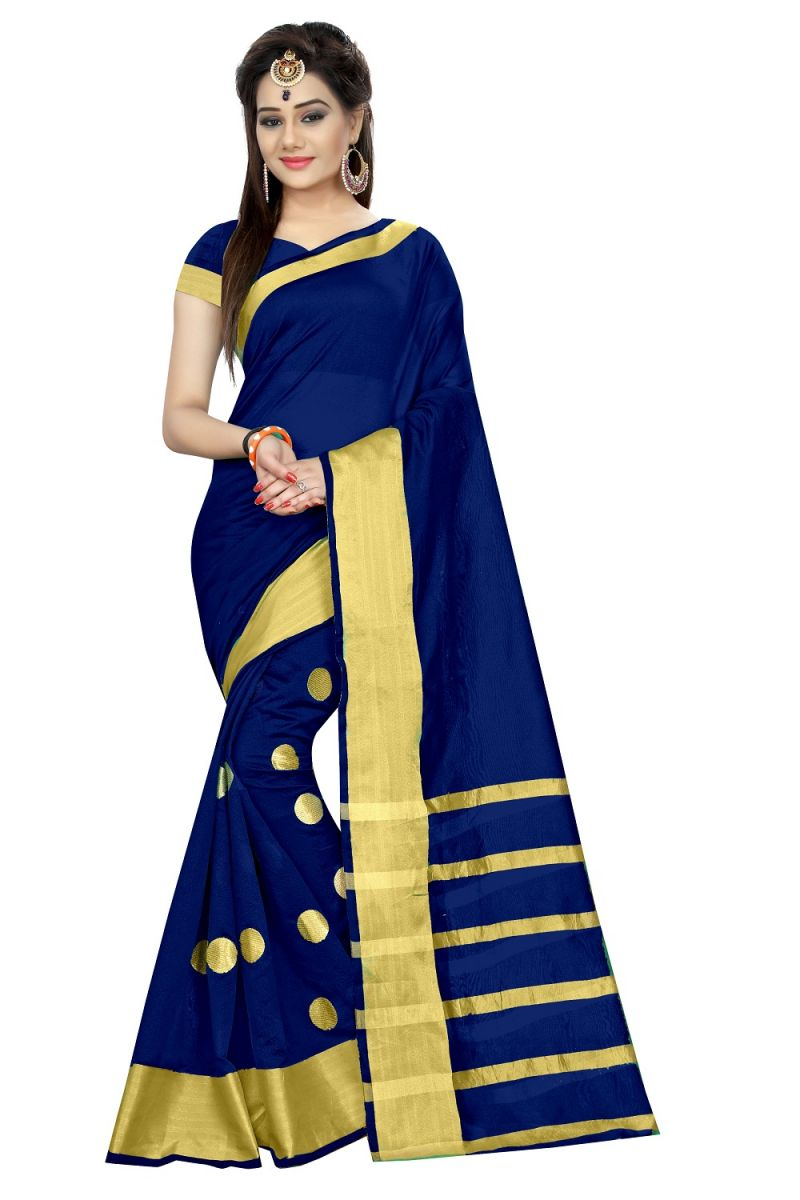 Buy Mahadev Enterprises Navy_blue Colour Cotton Jari Embroidered Work Saree With Unstiched Blouse Pics Meg05 online