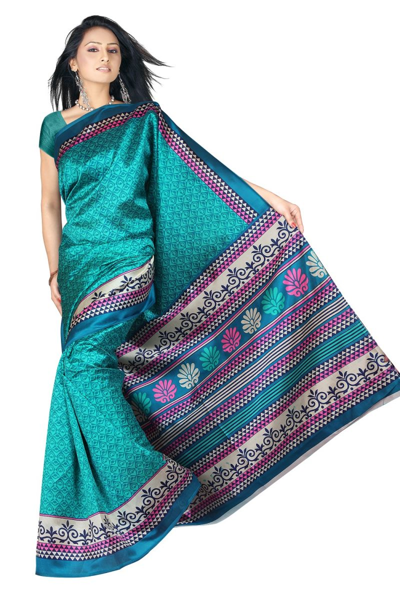 Buy Mahadev Enterprises Green Colour Lichi Silk Saree Mel_0253 online