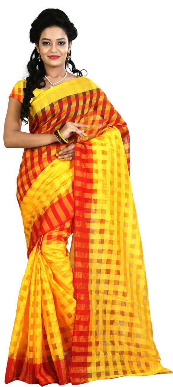 Buy Mahadev Enterprises Yellow Colour Art Cotton Saree Mkv_105 online