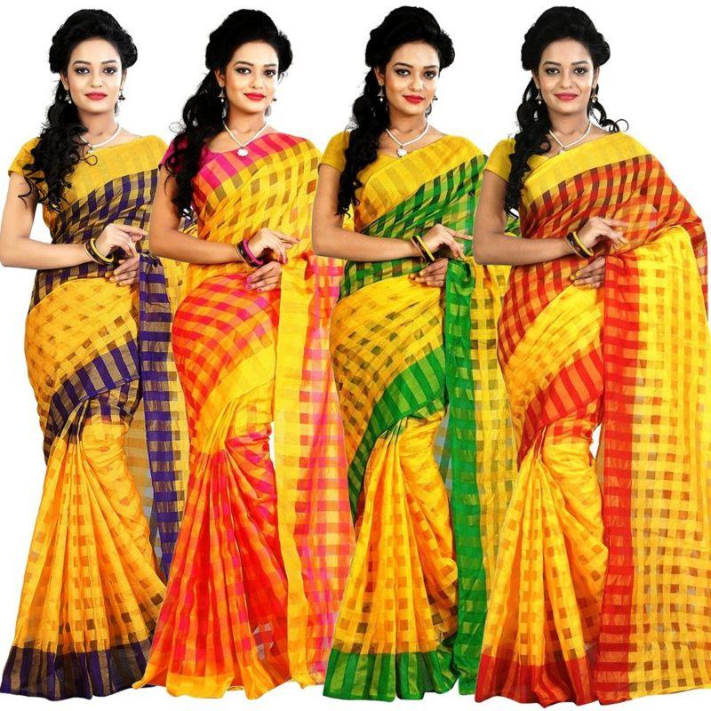 Buy Mahadev Enterprises Yellow Colour Art Cotton Saree (4 Saree Combo ) Mkv_104 online