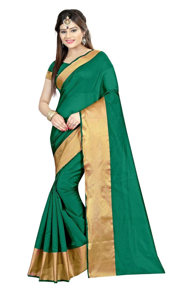 c5c0ca0635 Buy Mahadev Enterprises Green Color Cotton Silk Saree With Unstitched  Blouse Pics Akm01 online