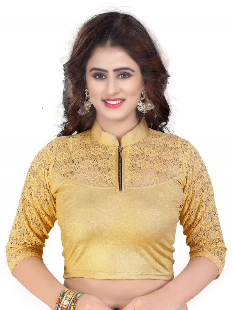 Buy Mahadev Enterprises Gold Pure Cotton Lycra With Net Readymade Blouse online