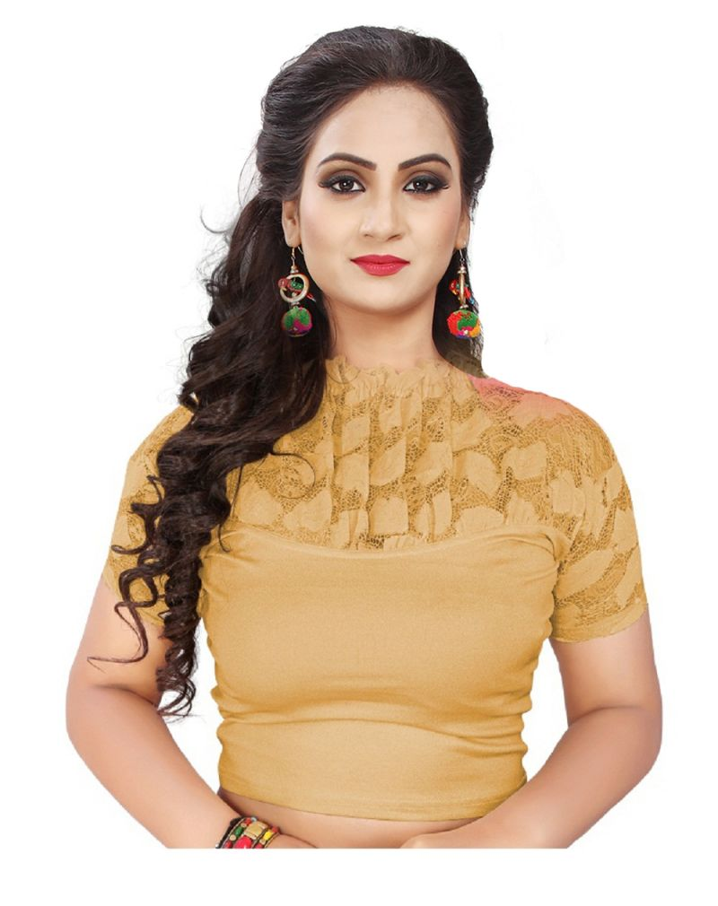 18edb472608 Buy Mahadev Enterprises Gold Pure Cotton Lycra With Net Readymade Blouse  online