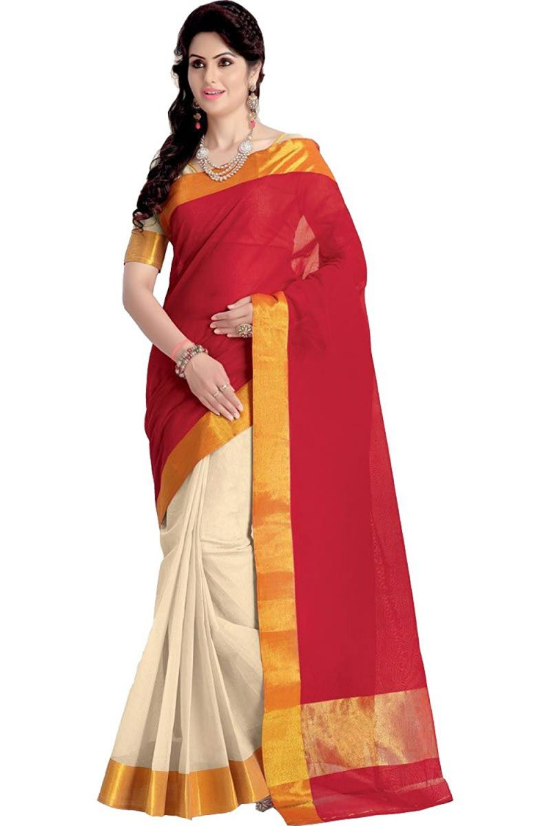 Buy Mahadev Enterprises Red Color Cotton Silk Saree With Unstitched Blouse Pics Pf05 online