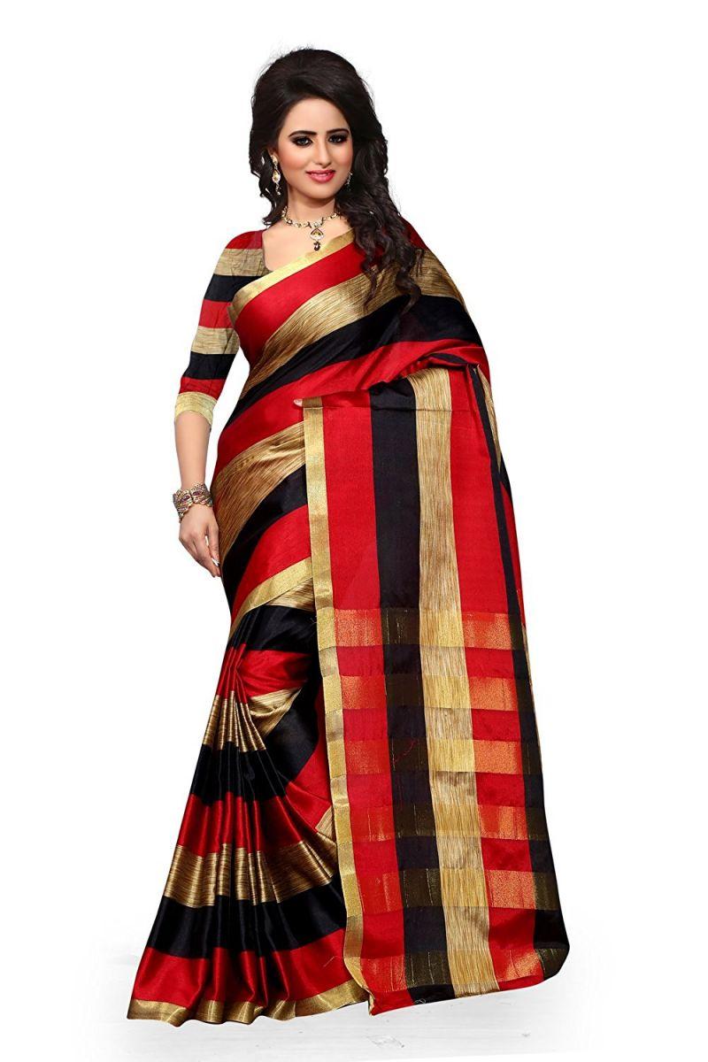 Buy Mahadev Enterprises Red & Black Color Cotton Silk Saree With Unstitched Blouse Pics Pf06 online