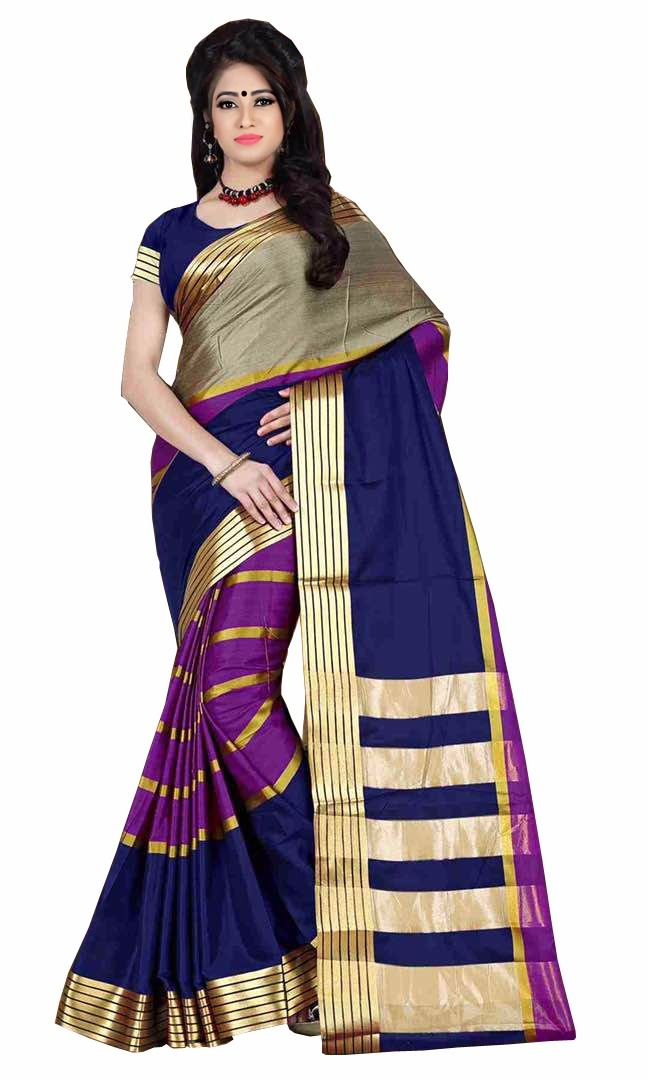 Buy Mahadev Enterprises Multicolor Cotton Silk Saree With Unstitched Blouse Pics online