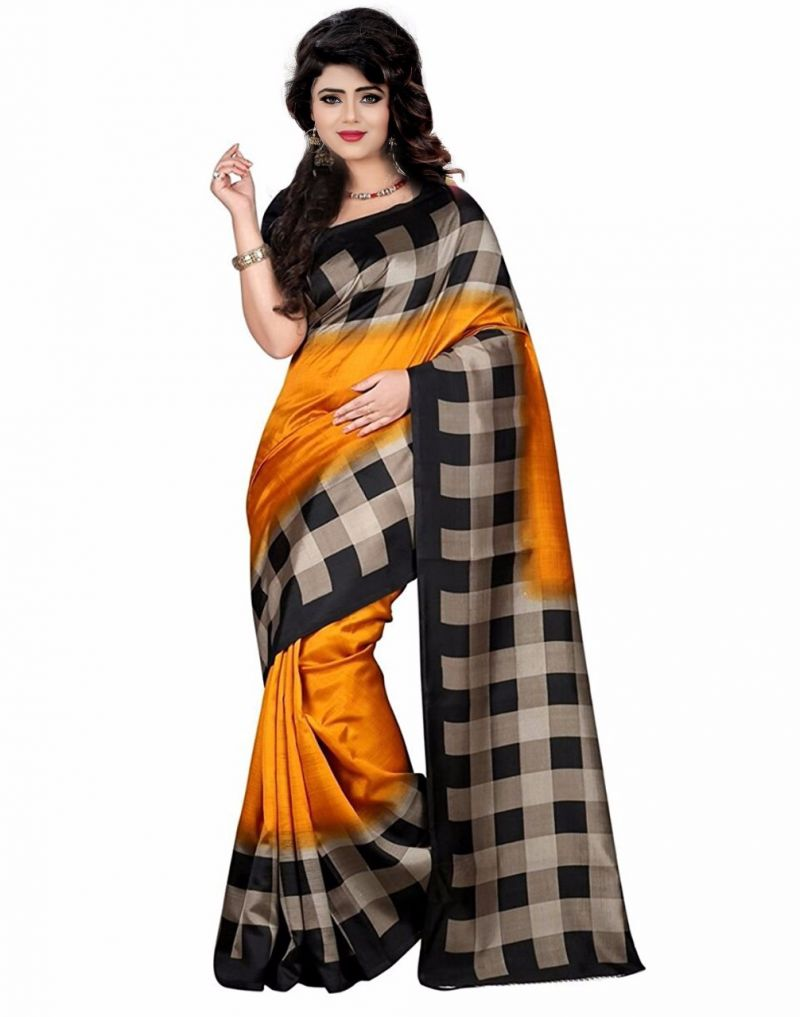 Buy Mahadev Enterprises Gold & Black Bhagalpuri Silk Saree With Blouse Pics online
