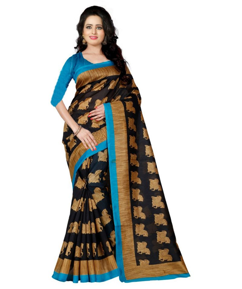 Buy Mahadev Enterprises Black Bhagalpuri Silk Saree With Blouse Pics online
