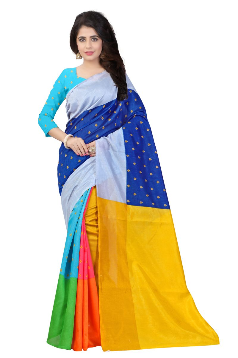 Buy Mahadev Enterprises Multicolor Bhagalpuri Silk Saree With Blouse Pics online