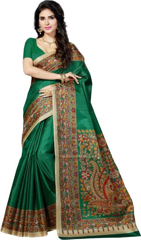 Buy Mahadev Enterprises Green Bhagalpuri Cotton Saree With Running Blouse Piece ( Code - Pf134 ) online