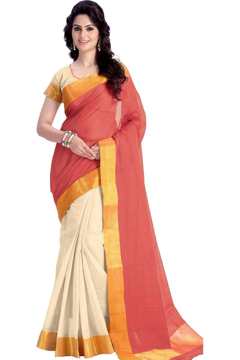 Buy Mahadev Enterprises Orange Color Cotton Silk Saree With Unstitched Blouse Pics Pf14 online
