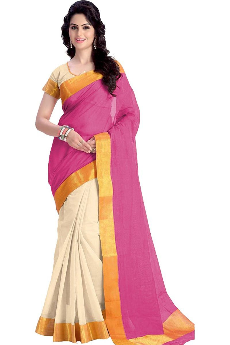 Buy Mahadev Enterprises Pink Color Cotton Silk Saree With Unstitched Blouse Pics Pf15 online