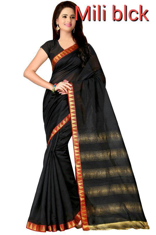 Buy Mahadev Enterprises Black Color Cotton Silk Saree With Unstitched Blouse Pics Pf18 online