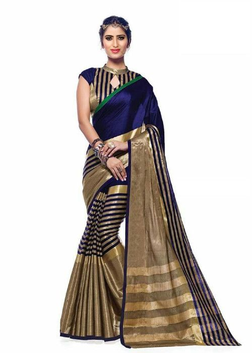 Buy Mahadev Enterprises Blue & Grey Color Cotton Silk Saree With Unstitched Blouse Pics Pf25 online