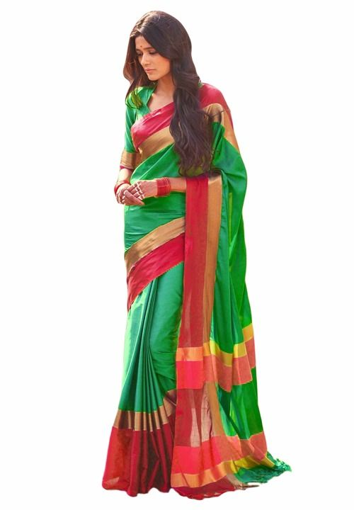 Buy Mahadev Enterprises Sea_green Color Cotton Saree With Unstitched Blouse Pics Pf45 online