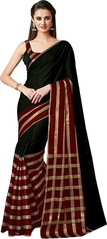Buy Mahadev Enterprises Black Color Cotton Saree With Unstitched Blouse Pics Pf49 online
