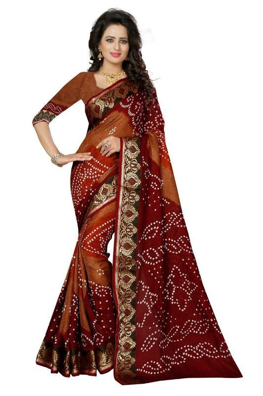 Buy Mahadev Enterprises Multicolor Printed Bhagalpuri Saree With Unstitched Blouse Pics Pf53 online
