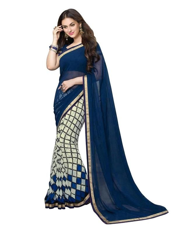 Buy Mahadev Enterprises Blue Color Georgatte Haff-haff Saree With Unstitched Blouse Pics Pf63 online