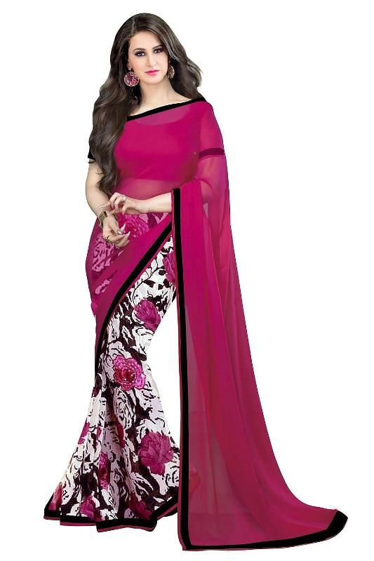 Buy Mahadev Enterprises Red Color Georgatte Haff-haff Saree With Unstitched Blouse Pics Pf64 online