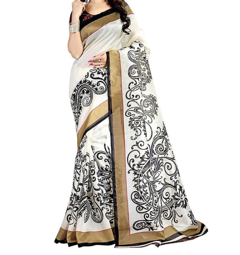 Buy Mahadev Enterprises White & Black Bhagalpuri Saree With Blouse Pf78 online