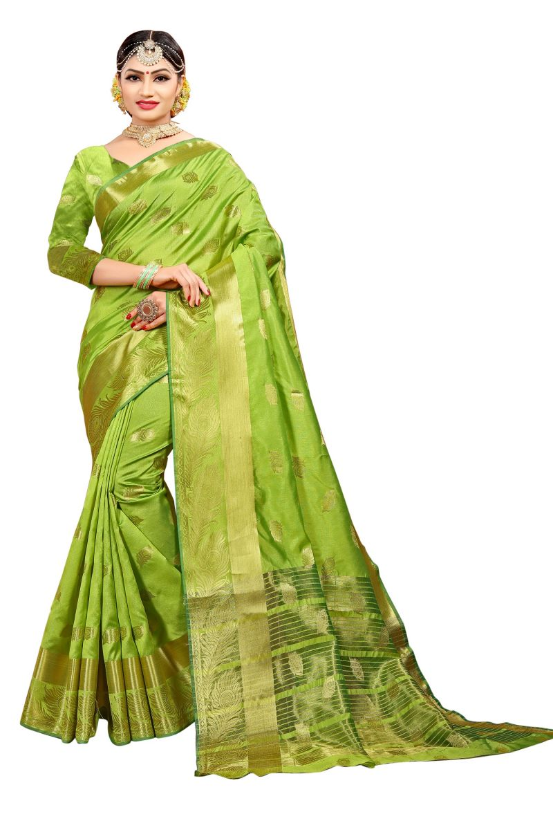 2e9763f6b56bd4 Buy Mahadev Enterprise Parrot Green Banarasi Cotton Silk Saree With Running  Blouse Pics online