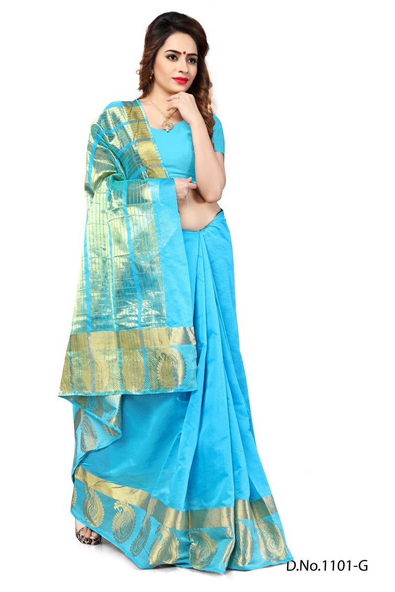 Buy Mahadev Enterprises Firozi Color Banarasi Silk Weaving Saree With Blouse Rjm1101g online
