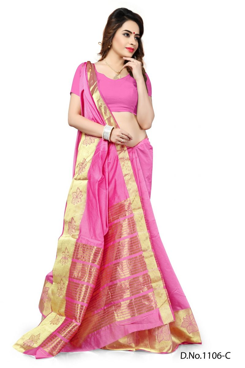 Buy Mahadev Enterprises Light_pink Color Banarasi Silk Weaving Saree With Blouse Rjm1106c online