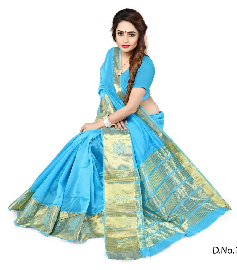 Buy Mahadev Enterprises Firozi Color Banarasi Silk Weaving Saree With Blouse Rjm1106j online
