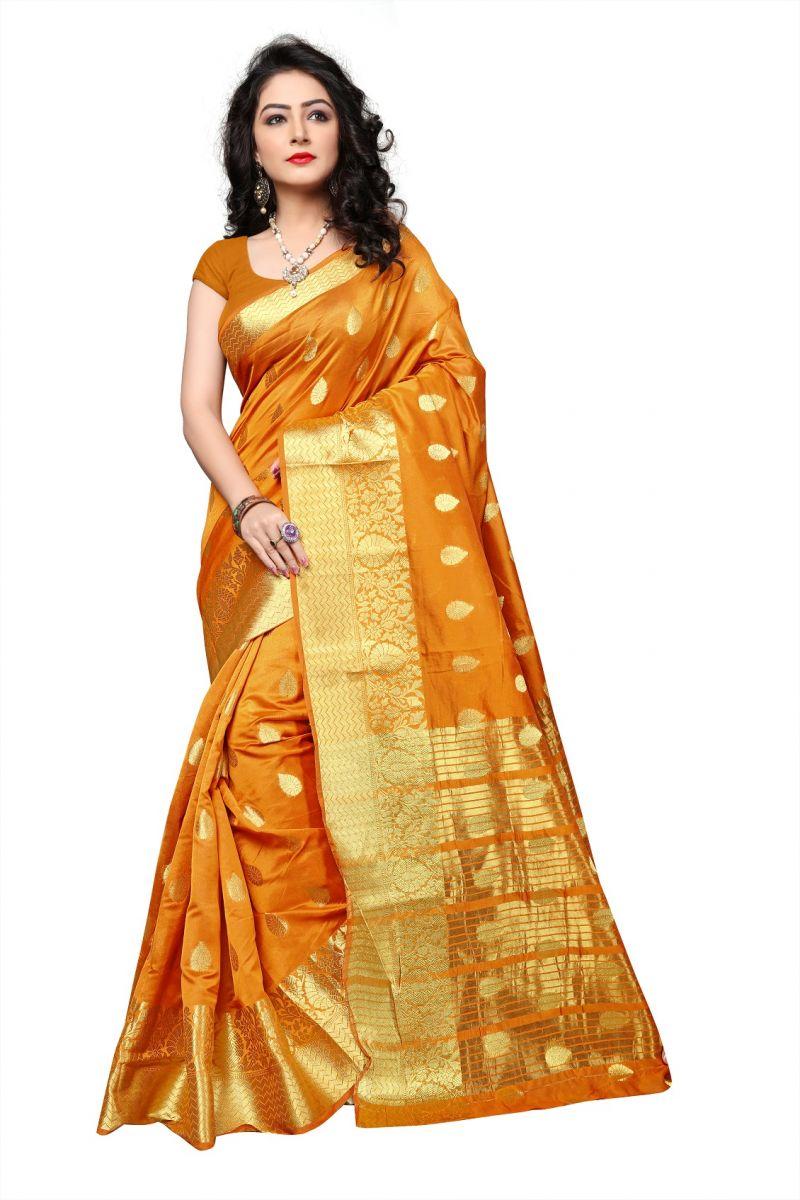 Buy Mahadev Enterprises Mustard Cotton Jacquard Butty Saree With Blouse Rjm1129j online