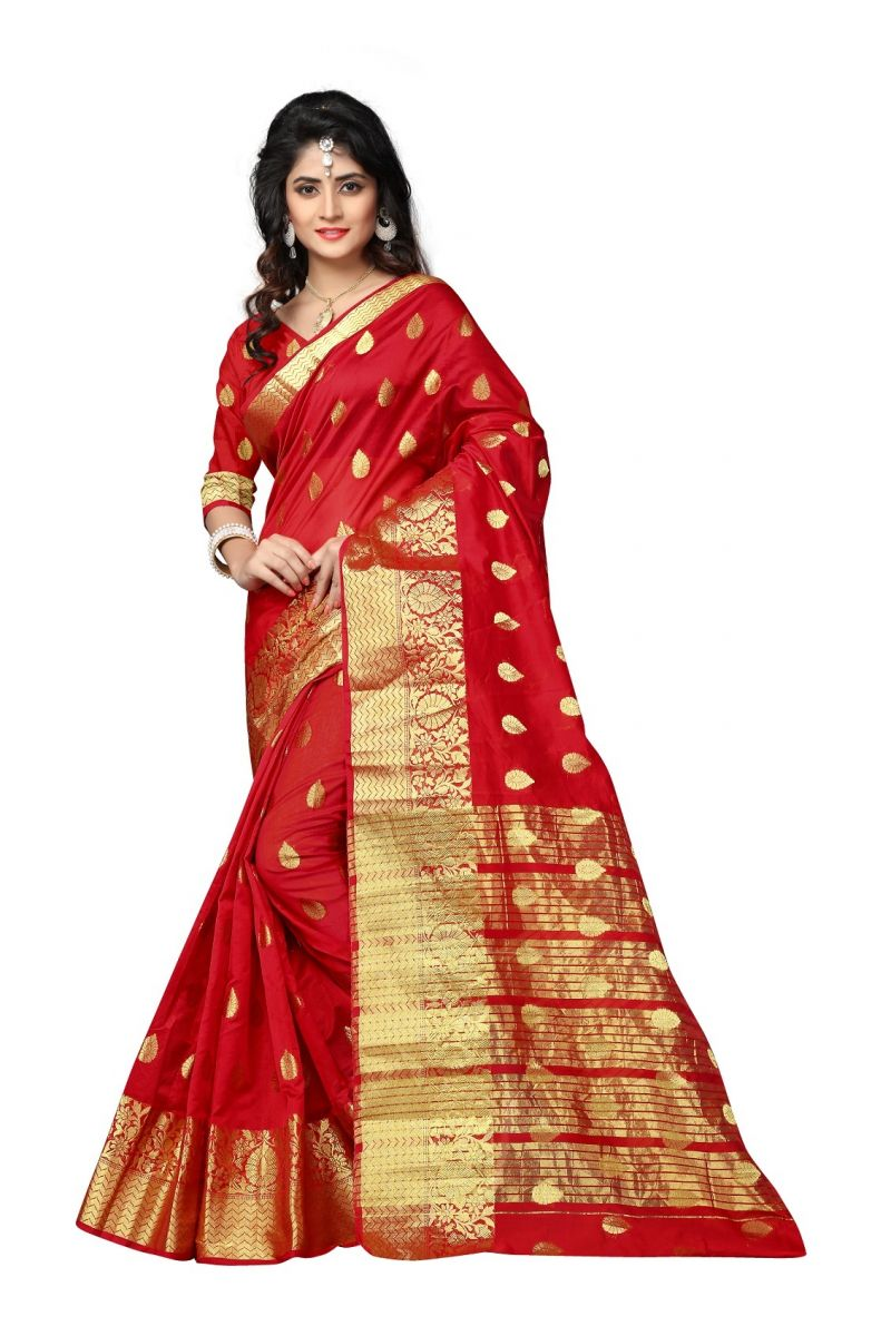 Buy Mahadev Enterprises Red Cotton Jacquard Butty Saree With Blouse Rjm1129k online