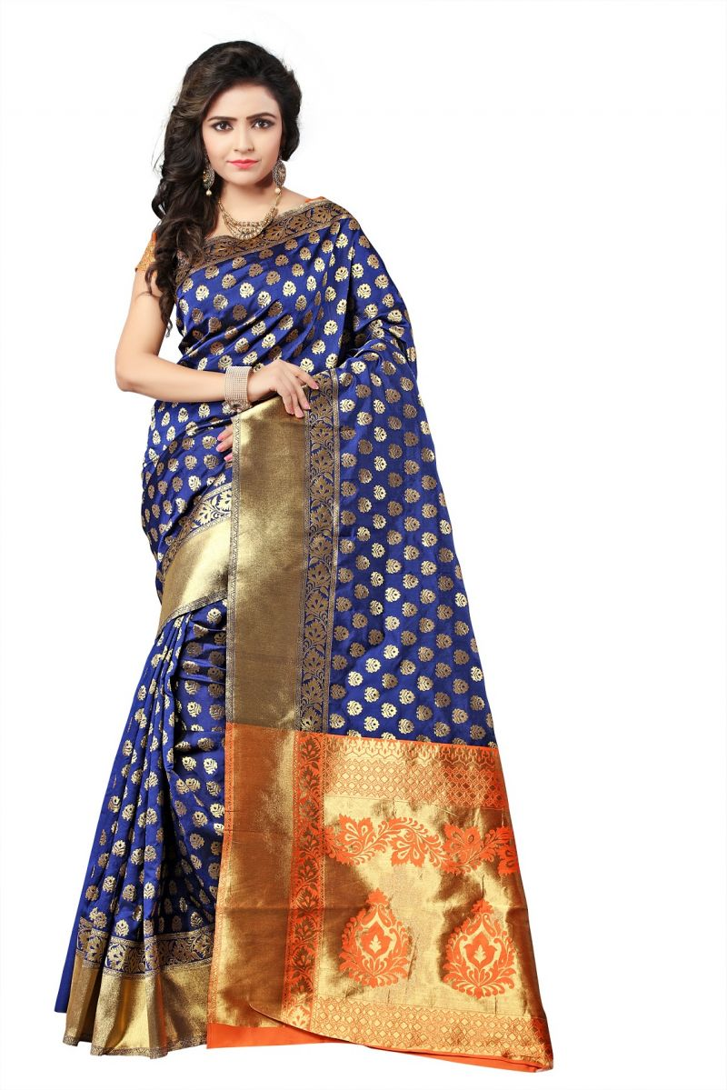 Buy Mahadev Enterprise Blue Lichi Top Dyeal Weaving Saree With Running Blouse Pics online