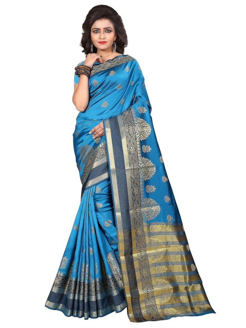 Buy Mahadev Enterprise Sky Blue Cotton Silk Weaving Saree With Running Blouse Pics online