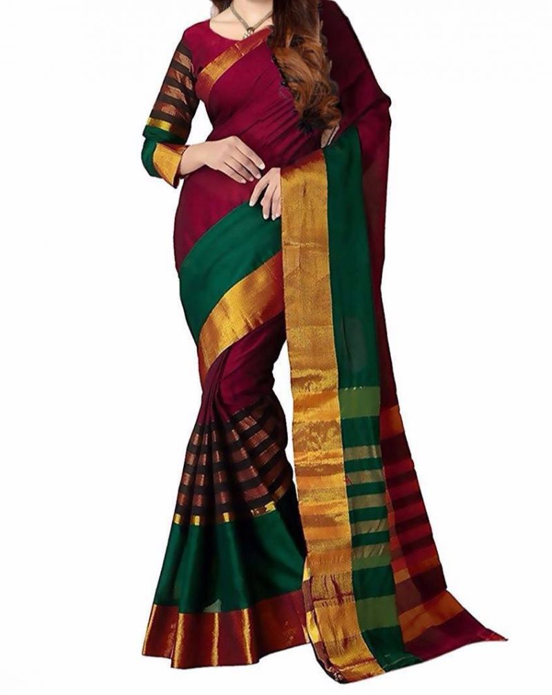 Buy Mahadev Enterprises Red & Green Color Bhagalpuri Cotton Silk Saree With Unstitched Blouse Pics Ssc01 online