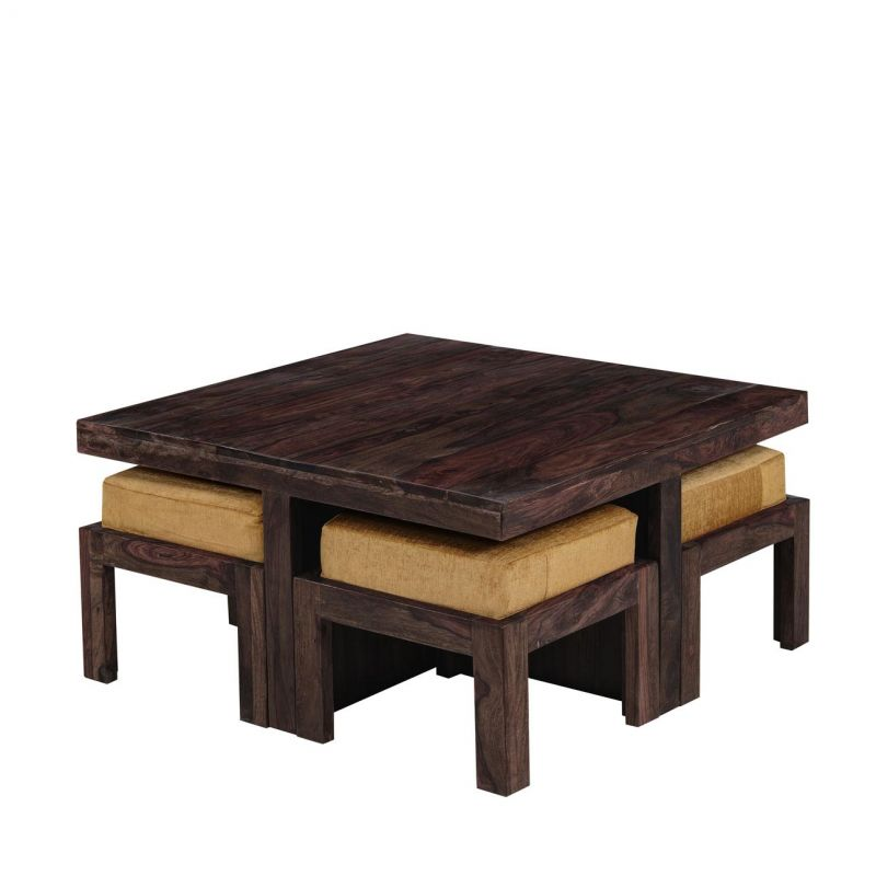 Charming Buy Inhouz Sheesham Wood Square Coffee Table Set (walnut Finish) Online |  Best Prices In India: Rediff Shopping