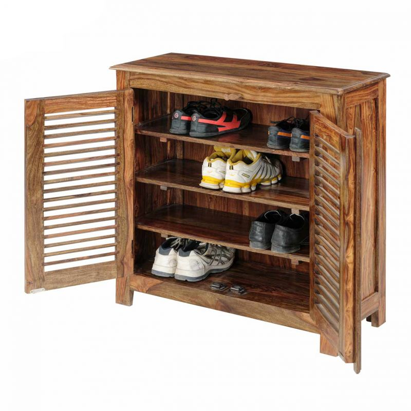 Buy Inhouz Sheesham Wood Maccy Shoe Rack (teak Finish) online