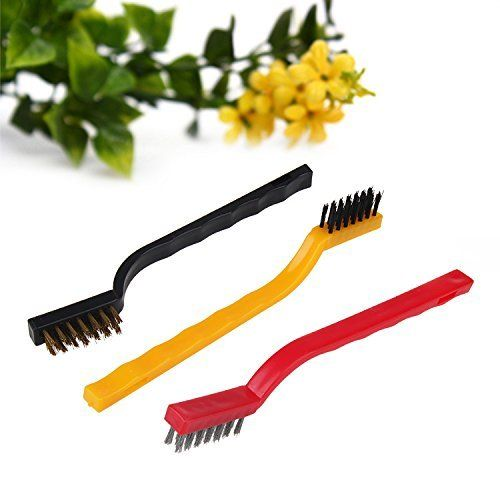 Buy Mini Wire Brush Set,cleaning Tool Kit - Brass, Nylon, Stainless Steel Bristles 3 PCs (colour May Vary) online