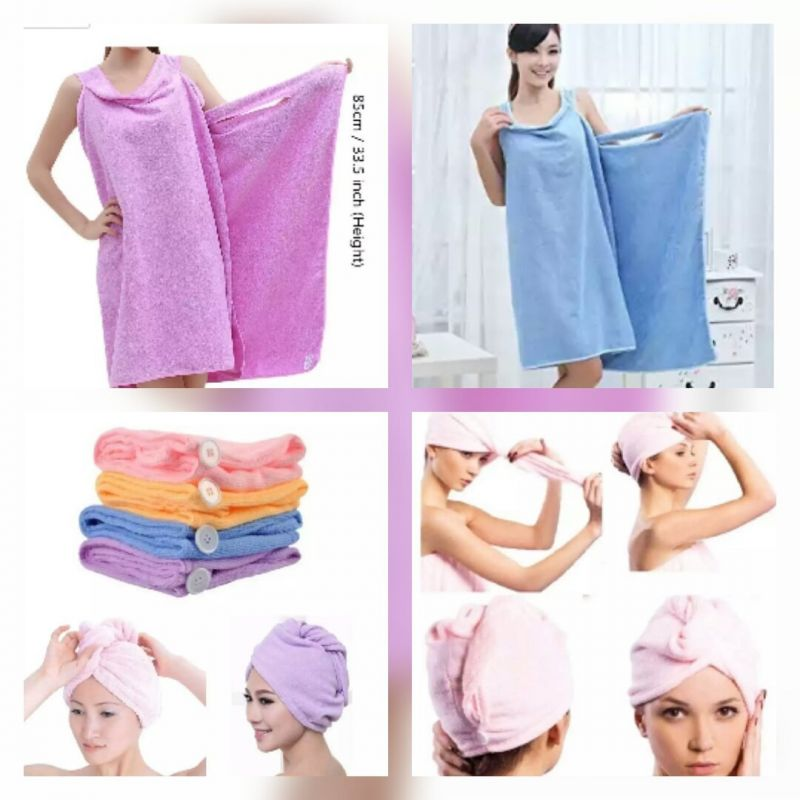 Buy Combo Offer, Hair Wrap Towel Bath Ta Robe A Convenient Wearable Towel Free Size (colour May Vary) online