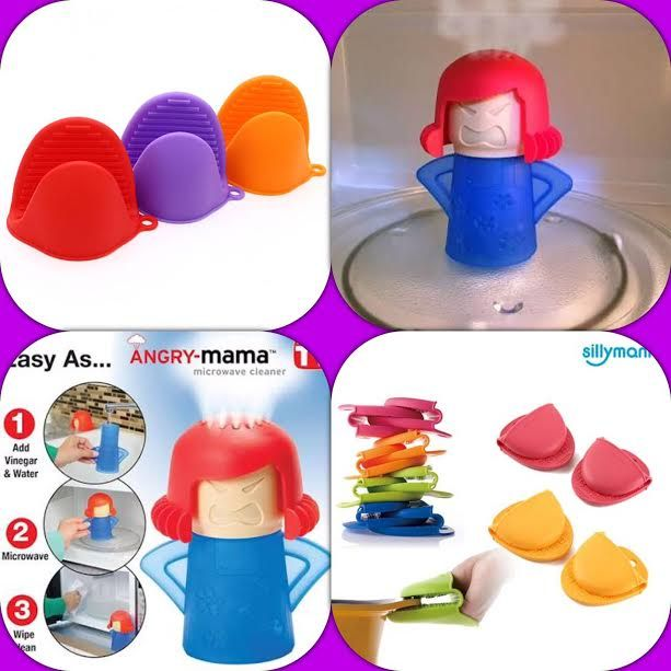 Buy Combo Angry Mama Microwave Cleaner 2 X Heat Resistant Cooking Silicone Gloves online