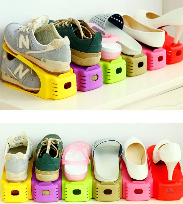Good Buy 2 X Adjustable 1/2 Space Plastic Shoe Rack Storage Holder Support  Organizer Online